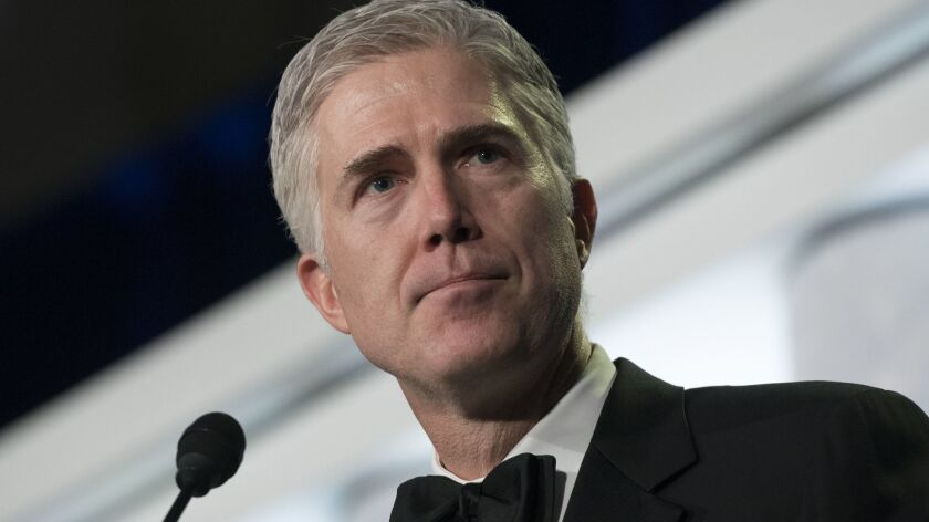 Supreme Court Associate Justice Neil Gorsuch speaks at the Federalist Society's 2017 National Lawyer