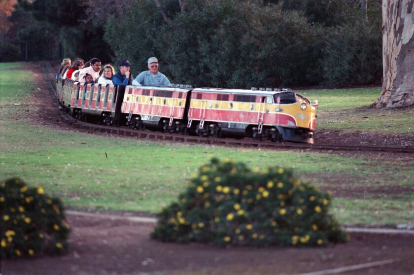 """The announcement declared, """"Fun for kids from 6 to 60"""" in the Nov. 13, 1948, edition of The San Diego Union. The pitch was for the newly installed Balboa Park Miniature Railway and the Balboa Park Streamliner, to be dedicated on that day. Built by Paul Allen Sturtevant's Miniature Train Co., th"""
