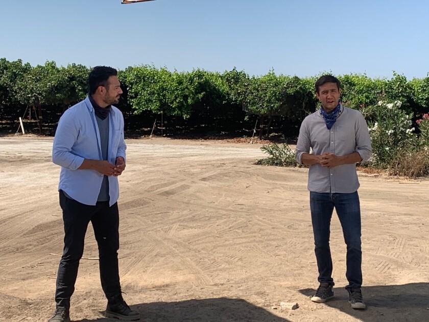 Correspondents Guadalupe Venegas, left, and Gadi Schwartz in McFarland, Calif., for NBC News x Noticias Telemundo Reports.
