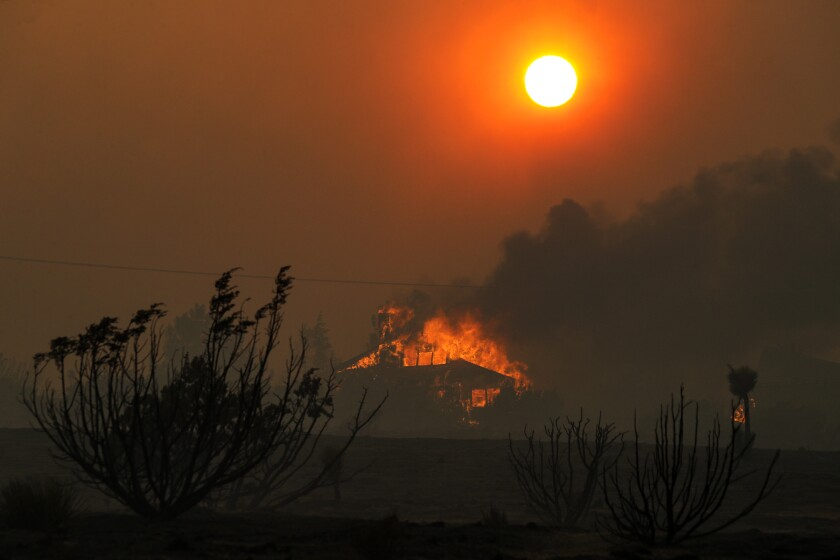 The Bobcat fire burns in the Antelope Valley on Friday.