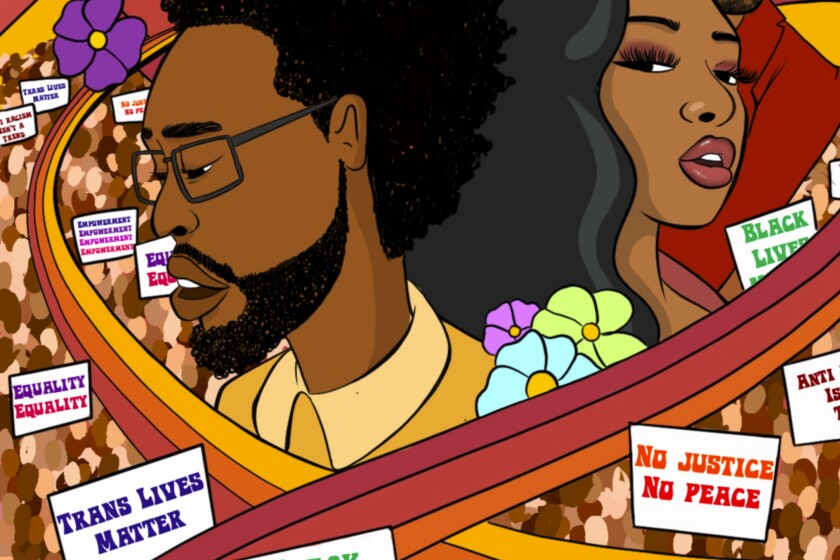 Terrace Martin and Megan Thee Stallion are depicted in an illustration.