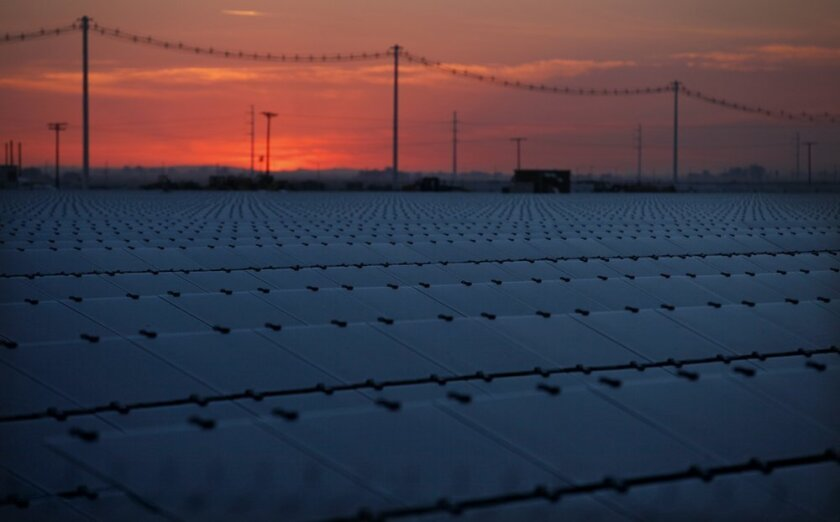 A Tenaska Solar project constructed near Calexico is part of an overall package of solar and wind energy plants in the desert.
