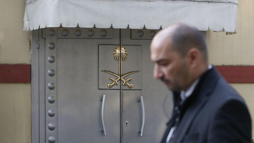 Security personnel guard Saudi Arabia's consulate in Istanbul, Monday, Oct. 22, 2018. Saudi Crown Pr
