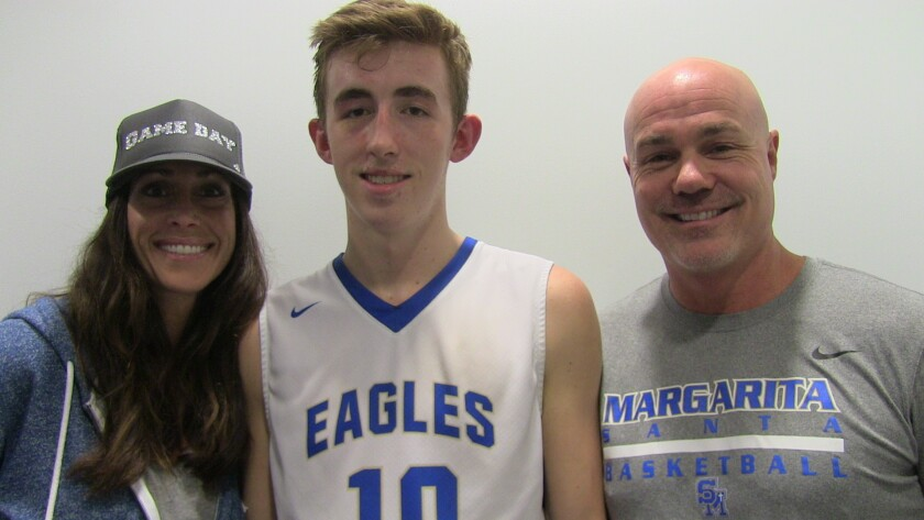 Santa Margarita sophomore Jake Kyman, along with mother Michelle and father Coley.