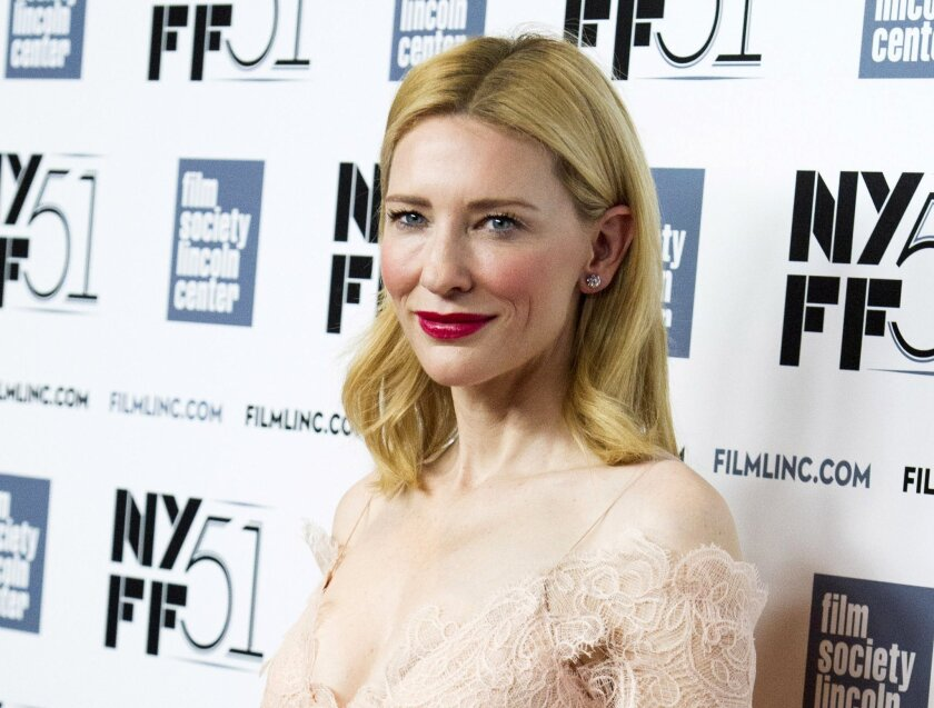 "FILE - This Oct. 2, 2013 file photo shows Cate Blanchett at the New York Film Festival Gala Tribute held in her honor in New York. Blanchett and Isabelle Huppert also will star the U.S. premiere of Benedict Andrews' production of Jean Genet's play ""The Maids"" at this summer's Lincoln Center Festiva"