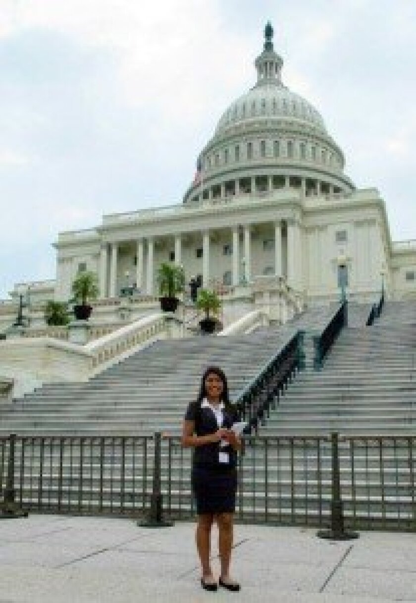 Though it was a hot, humid day when Daisy Flores and other 'student leaders' arrived in Washington, D.C.,  Flores said she was  eager to get out  and explore.