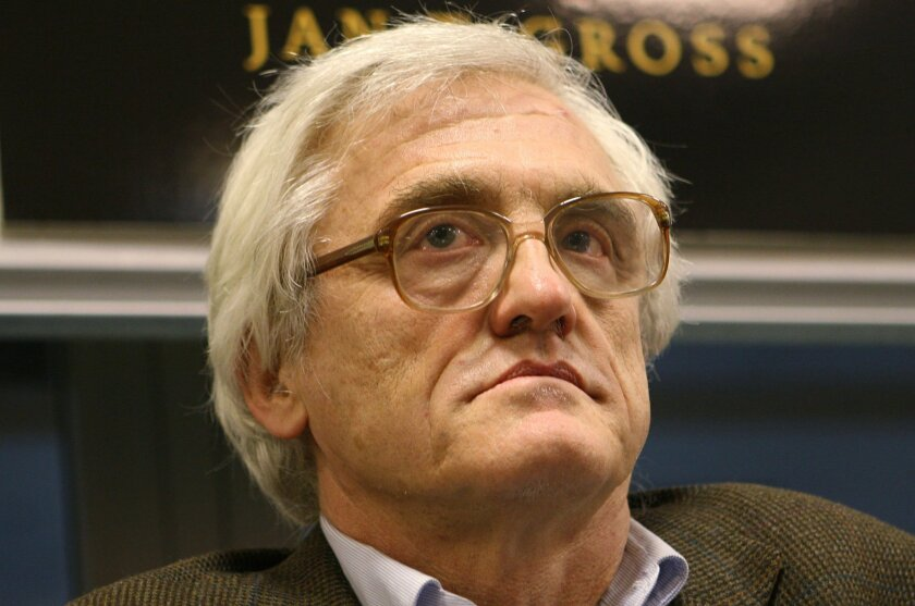 "In this Jan. 22, 2008 photo, Princeton-based historian and sociologist Jan Tomasz Gross attends a meeting with readers in Warsaw, Poland. Gross, whose scholarship has explored Polish violence against Jews during World War II says Poland's new right-wing leadership is taking ""a step back to the dark"
