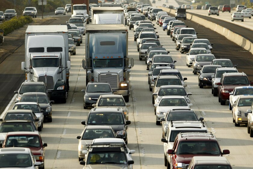 Summer freeway closures on I-805 and I-15 could produce scenes of gridlock like the one above, Caltrans officials warned this week. U-T San Diego file photo.