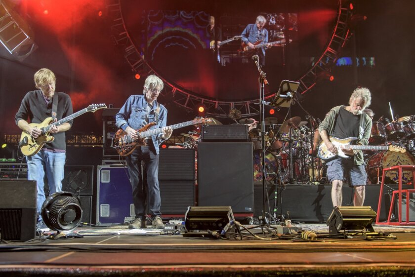 Trey Anastasio, from left, Phil Lesh and Bob Weir perform at the Grateful Dead Fare Thee Well Show at Levi's Stadium on Saturday in Santa Clara, Calif.