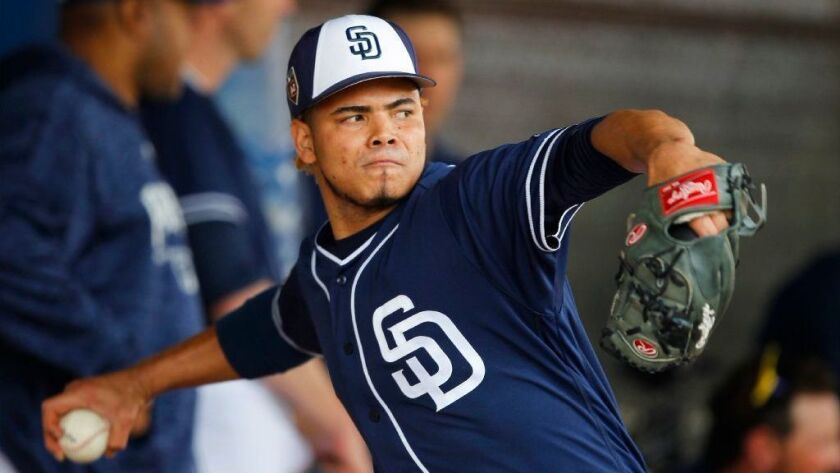 Padres pitcher Dinelson Lamet throws during a spring training practice in Peoria on Feb. 15, 2018.