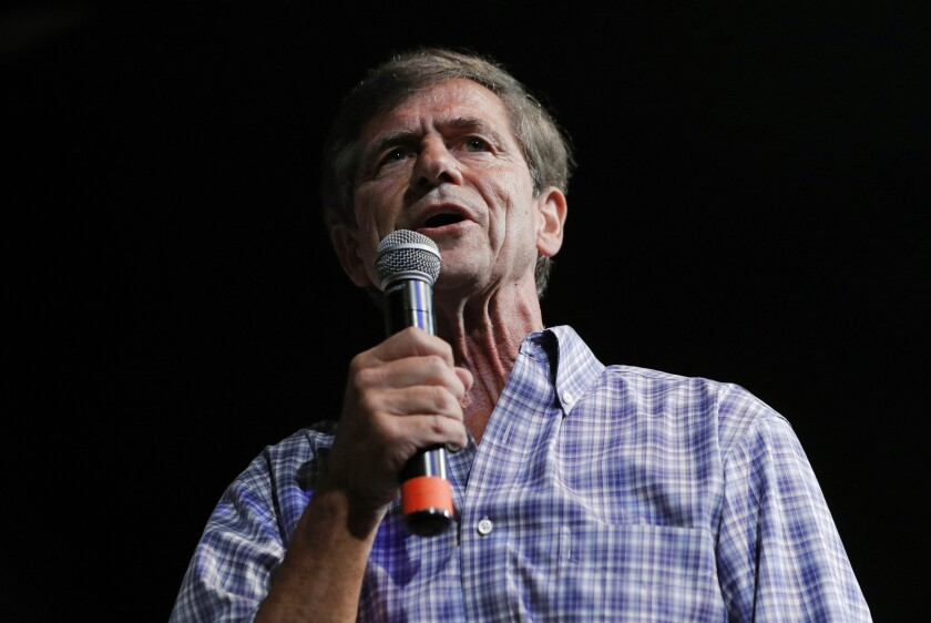 FILE - In this Aug. 9, 2019, file photo, Democratic presidential candidate and former congressman Joe Sestak speaks at the Iowa Democratic Wing Ding at the Surf Ballroom in Clear Lake, Iowa. Sestak, the former Pennsylvania congressman and retired Navy admiral who hoped to turn his military experience into an asset as a Democratic presidential candidate, said Sunday, Dec. 1, he was ending his bid for the party's nomination. (AP Photo/John Locher, File)