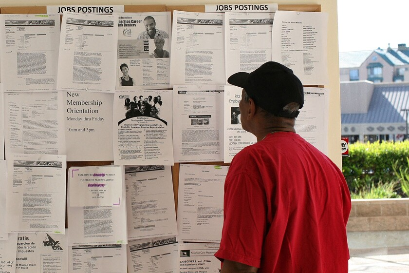 A person browses job listings
