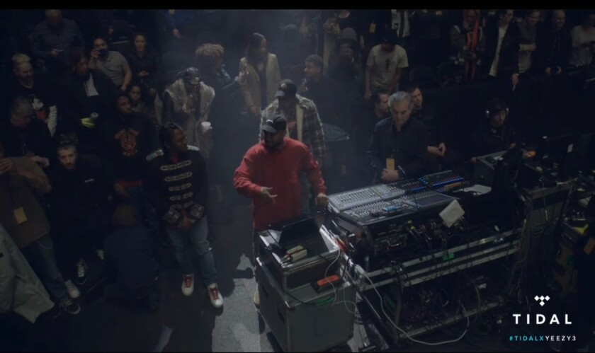 """Kanye West in a screen shot from his Yeezy Season 3 presentation at Madison Square Garden. Broadcast by Tidal, the performance served as a listening party for his new album, """"The Life of Pablo."""""""