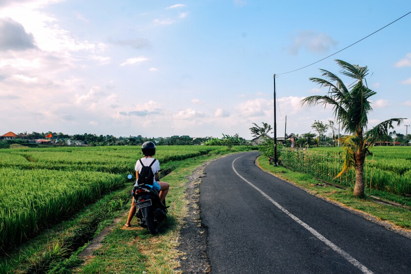 Rice fields in Bali, Indonesia, and the freedom to pursue adventure.