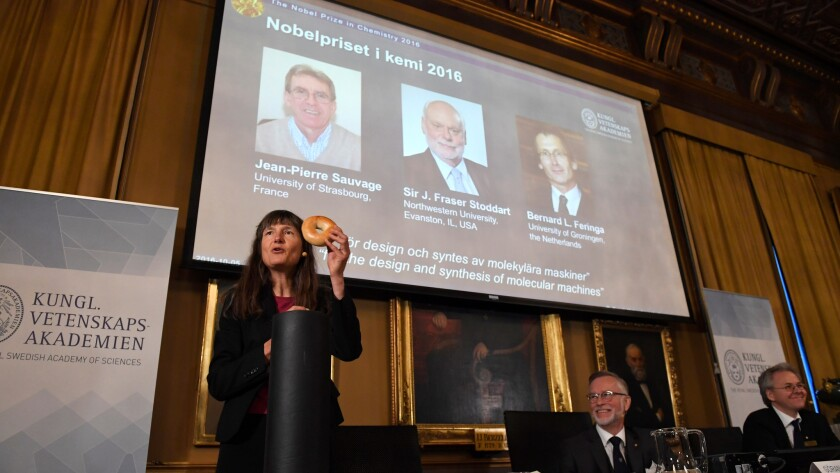 Royal Academy of Sciences members speak about the 2016 Nobel Chemistry Prize in Stockholm on Wednesday. Jean-Pierre Sauvage, Fraser Stoddart and Bernard Feringa have been awarded the Nobel chemistry prize.