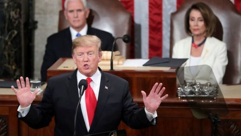 President Trump delivers his State of the Union address to a joint session of Congress as Vice President Mike Pence and Speaker of the House Nancy Pelosi (D-Calif.) watch on Feb. 5.
