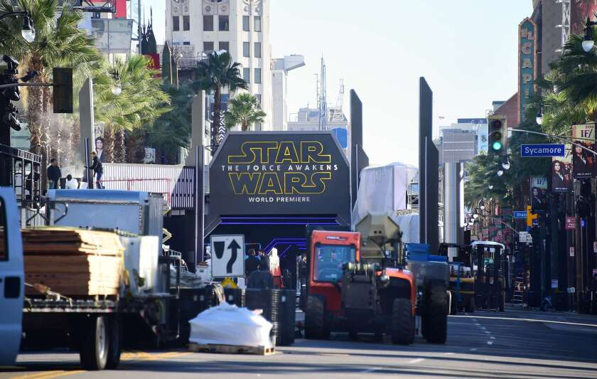 """Preparations continue along Hollywood Boulevard for the premiere of """"Star Wars: The Force Awakens"""" at TLC Chinese Theatre on Monday night."""