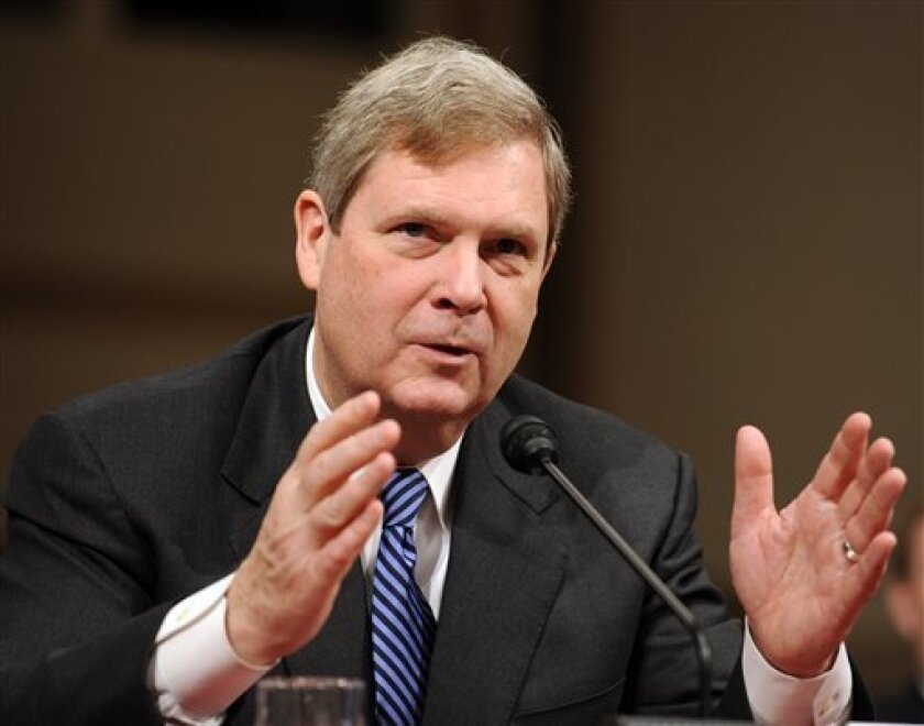 Agriculture Secretary-designate Thomas Vilsack testifies on Capitol Hill in Washington, Wednesday, Jan. 14, 2009, before the Senate Agriculture Committee hearing on his nomination. (AP Photo/Susan Walsh)