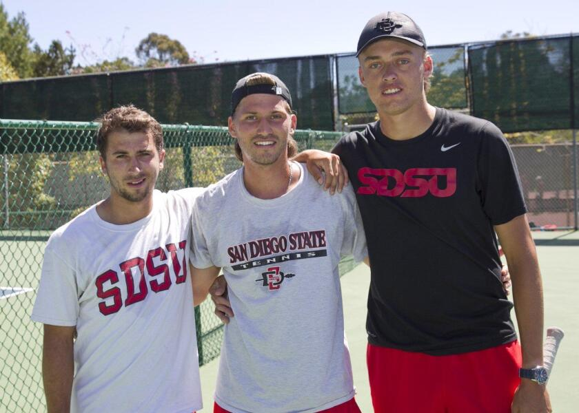 The San Diego State Men's Tennis team held its non-conference dual match against Stanford March 29 when it took on the Cardinal team at Rancho Santa Fe Tennis Club. The Aztecs women's tennis squad was also at the event to lend their support throughout the festivities.