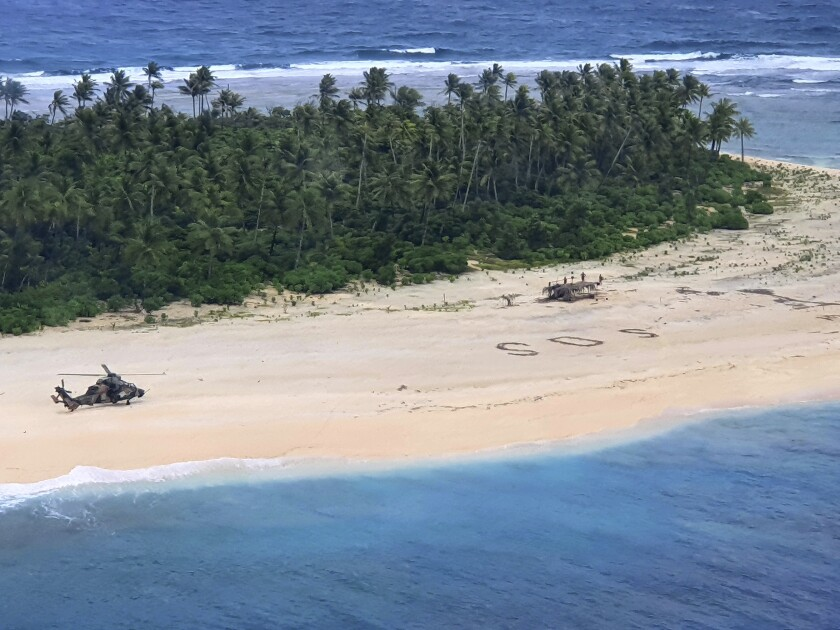 Pikelot Island in Micronesia, where three men were found, Sunday, Aug. 2, 2020, after being missing for three days.