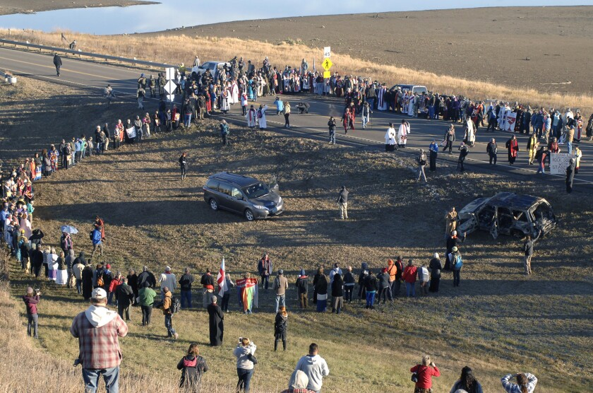 A giant prayer circle is formed over a highway in Morton County, N.D., in November 2016 in support of Dakota Access Pipeline protesters.