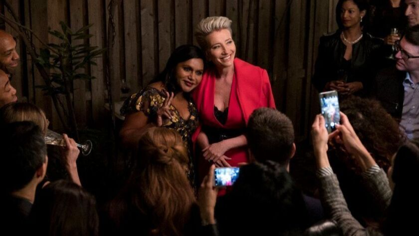 """Mindy Kaling, left, and Emma Thompson in a scene from """"Late Night."""""""