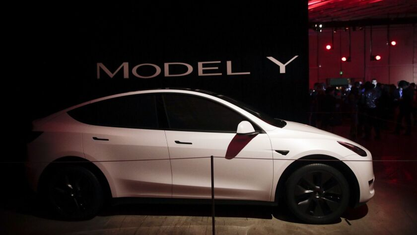 Tesla's Model Y is displayed at the company's design studio Thursday, March 14, 2019, in Hawthorne,