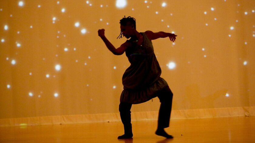 WESTWOOD, CA. - AUGUST 8, 2013: Taisha Paggett dances during a rehearsal in Kaufman Hall at UCLA of