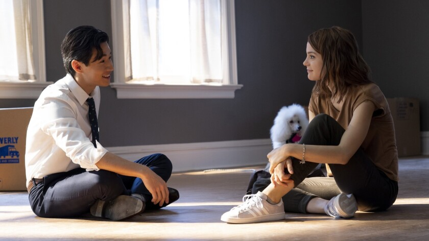 (from left) – Trent (Henry Lau), Ms. Thing (a Hairless Chinese Crested) and CJ (Kathryn Prescott)