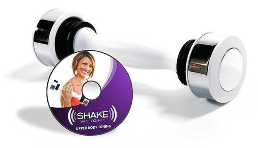 The Shake Weight promises a full upper-body workout in six minutes.