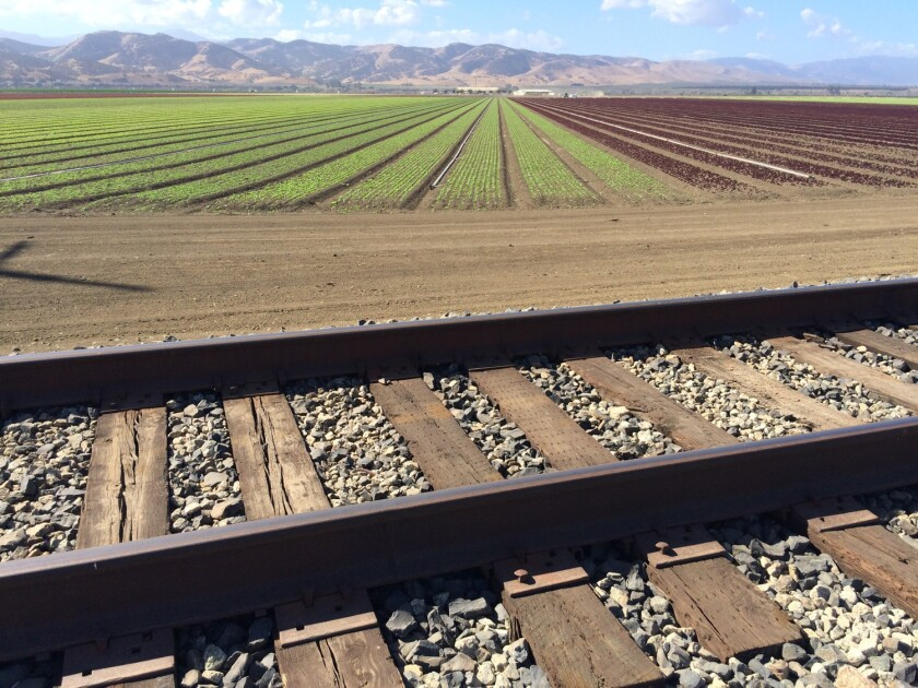 A view of the Salinas Valley with railroad tracks in the foreground and farmland extending to the hills beyond.