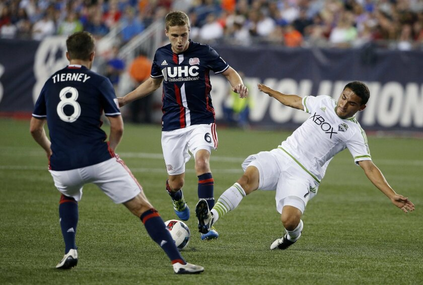 Seattle Sounders's Cristian Roldan (7) and New England Revolution's Scott Caldwell (6) battle for the ball during the second half of an MLS soccer game, Saturday, May 28, 2016, in Foxborough, Mass. The Revolution won 2-1. (AP Photo/Michael Dwyer)