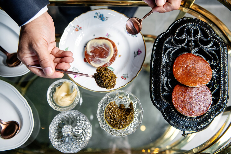 Caviar with banana pancake from Angler restaurant.