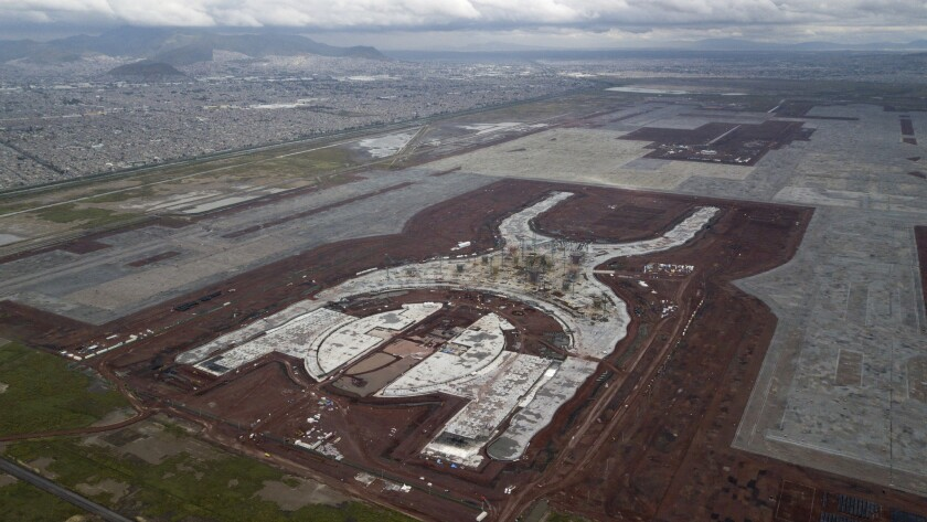 This Oct. 17, 2018 photo, a shows the construction of new airport in Texcoco, Mexico. The future of