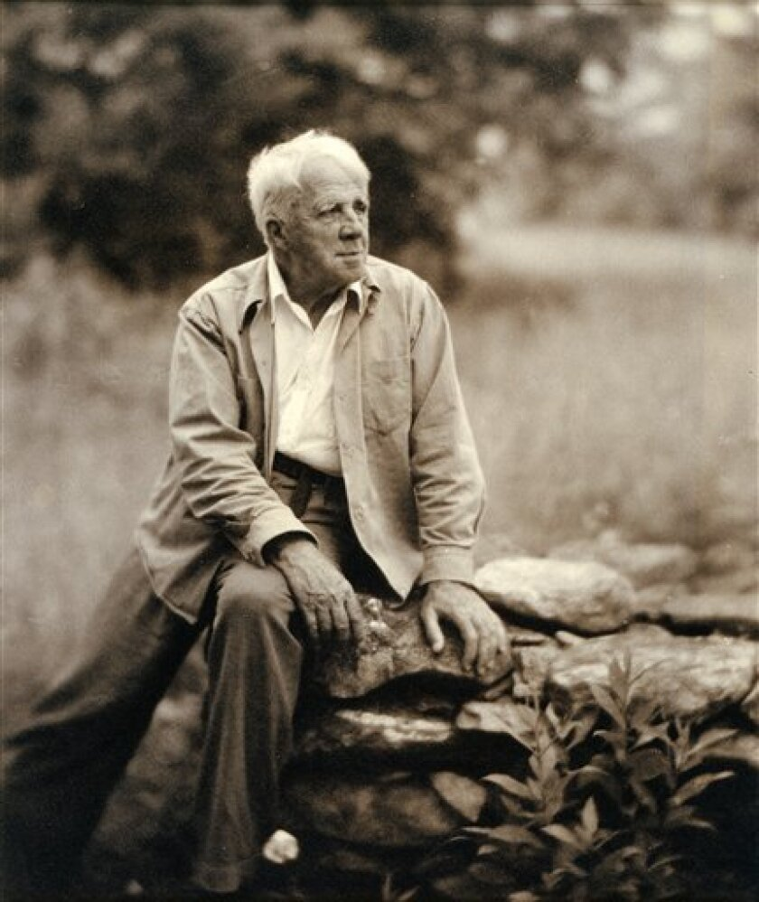 This National Portrait Gallery exhibit photo shows poet Robert Frost as photographed by Clara Sipprell Gelatin, c. 1955.