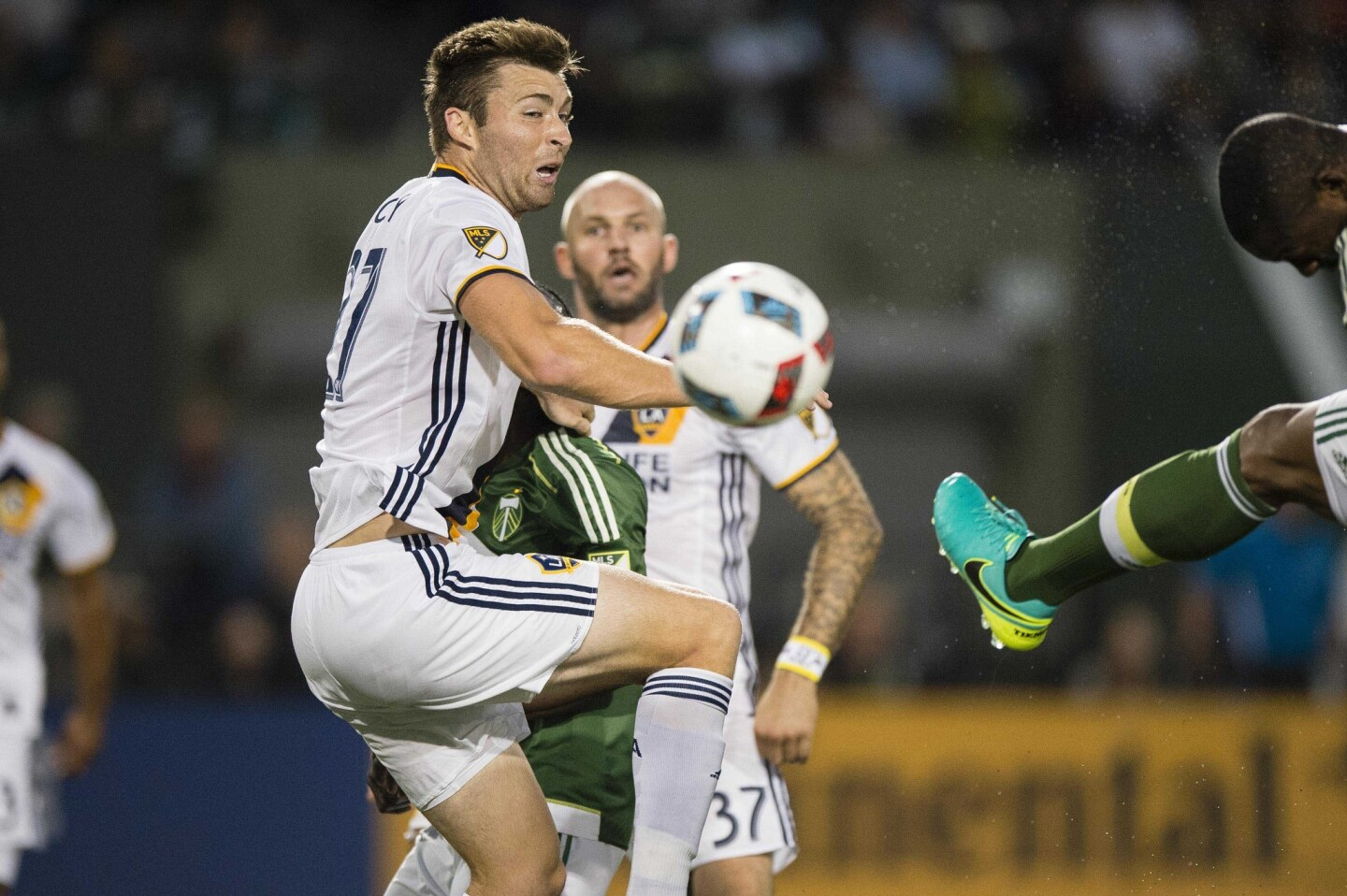 June 29, 2016; Portland, OR, USA; Los Angeles Galaxy defender Dave Romney (27) helps defend the goal during the second half in a game against the Portland Timbers at Providence Park. The Galaxy won 1-0. Mandatory Credit: Troy Wayrynen-USA TODAY Sports ** Usable by SD ONLY **
