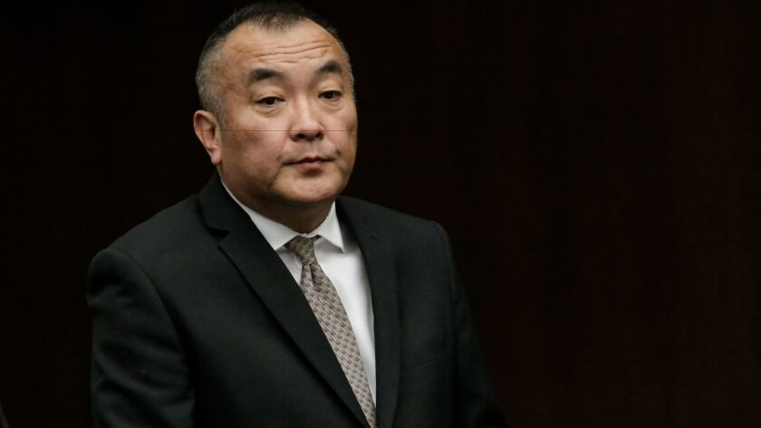 Former Mark Keppel High School girls' basketball coach Joseph Kikuchi appears in court in December 2015. Kikuchi was convicted of 23 counts of sexual abuse of a minor and sentenced to five years in prison.