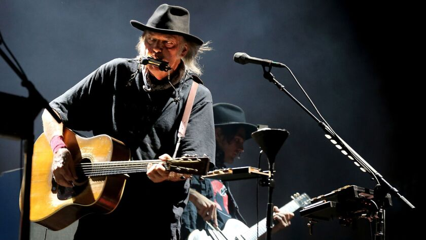 INDIO, CALIF. - OCT. 15, 2016. Neil Young performs at weekend 2 of Desert Trip in Indio on Saturday