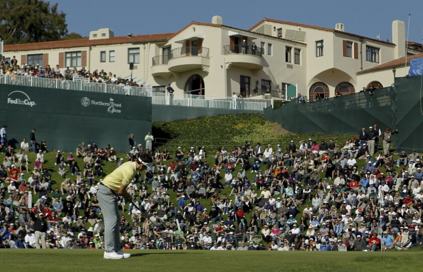 FILE - In this Feb. 18, 2012, file photo, Keegan Bradley putts from the edge of the 18th green during the third round of the Northern Trust Open golf tournament at Riviera Country Club in Los Angeles. The Northern Trust Open is this week at Riviera Country Club. The tournament scoring record, set in 1985 by Lanny Wadkins, is the oldest among courses still on the PGA Tour schedule.(AP Photo/Chris Carlson, File)