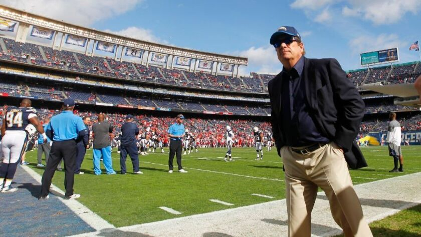 San Diego Charger Chairman Dean Spanos looks on before a game against the Kansas City Chiefs at Qualcomm Stadium on Sunday, Jan. 1, 2016.