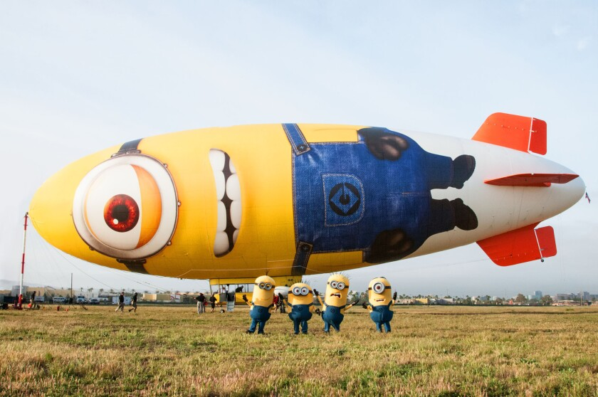 """A blimp owned by Van Wagner Communications is on a six-month tour promoting Universal Pictures' upcoming film """"Despicable Me 2."""""""