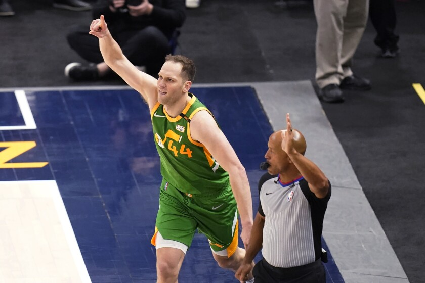 Utah Jazz forward Bojan Bogdanovic (44) celebrates after scoring 3-pointer against the Denver Nuggets during the second half of an NBA basketball game Friday, May 7, 2021, in Salt Lake City. (AP Photo/Rick Bowmer)