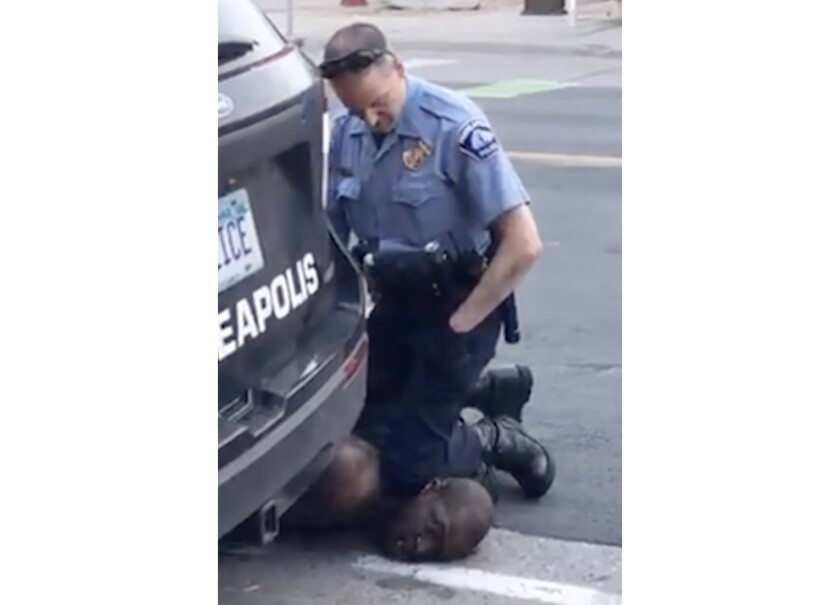 FILE - In this Monday, May 25, 2020, file frame from video provided by Darnella Frazier, then-Minneapolis Police Officer Derek Chauvin kneels on the neck of George Floyd, a handcuffed man who was pleading that he could not breathe. As the trial approaches for Chauvin, who is charged with murder in Floyd's death, prosecutors are putting the time Chauvin's knee was on Floyd's neck at about nine minutes. The time has fluctuated before. (Darnella Frazier via AP, File)