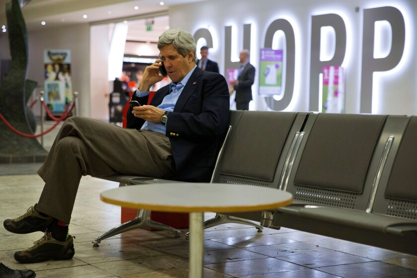 Secretary of State John F. Kerry, on a refueling stop at Shannon Airport in Ireland on Saturday, arranges a meeting with Russian Foreign Minister Sergei Lavrov in Paris.