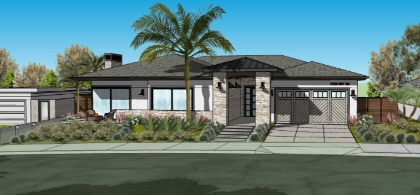 A rendering depicts work planned at 1542 Copa de Oro Drive in La Jolla.