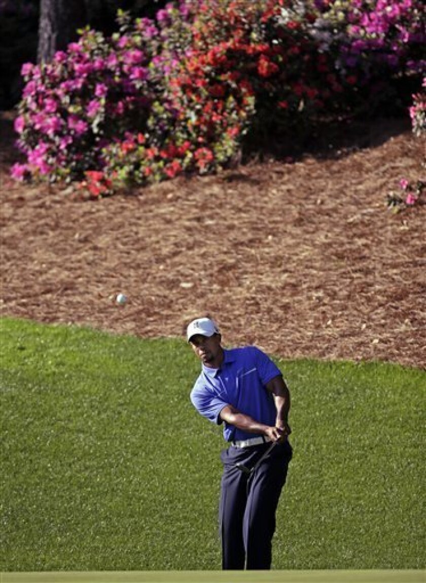 Tiger Woods chips to the 13th green during a practice round for the Masters golf tournament Wednesday, April 10, 2013, in Augusta, Ga. (AP Photo/Matt Slocum)