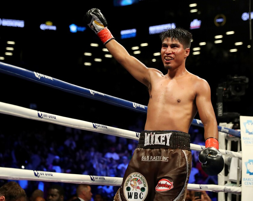 Mikey Garcia celebrates his 12 round win over Adrien Broner during their Junior Welterwight bout on July 29, 2017 at the Barclays Center in the Brooklyn borough of New York City.