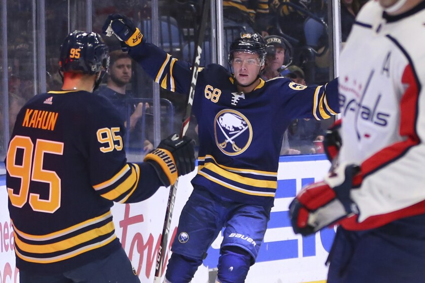 Buffalo Sabres forward Victor Olofsson (68) celebrates his goal during the first period of an NHL hockey game against the Washington Capitals, Monday, March 9, 2020, in Buffalo, N.Y. (AP Photo/Jeffrey T. Barnes)