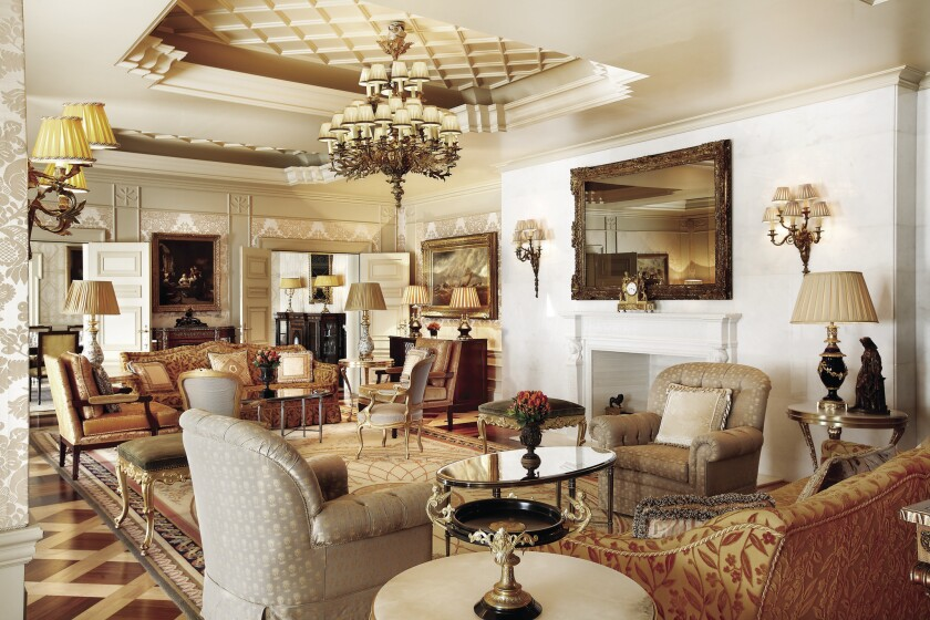 The Robb Report's top-rated suites in European hotels include the Royal Suite at the Hotel Grande Bretagne in Athens.