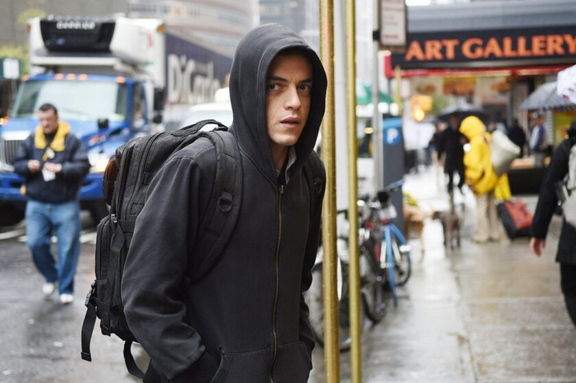 """Rami Malek appears in a scene from """"Mr. Robot."""" USA Network postponed the show's season finale because of a """"graphic scene similar in nature"""" to Wednesday's deadly shootings of a TV reporter and cameraman in Virginia."""